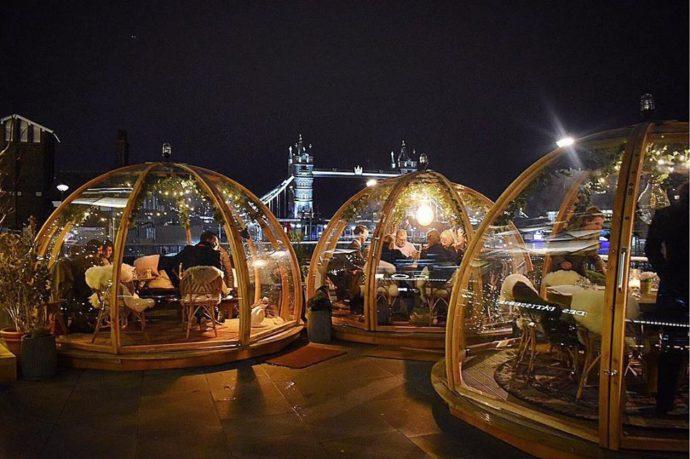 Необычный ресторан в Лондоне, ресторан в Лондоне, хороший ресторан в лондоне, лондонский ресторан иглу, ресторан с видом на тауэрский мост,ресторанCoppa Club