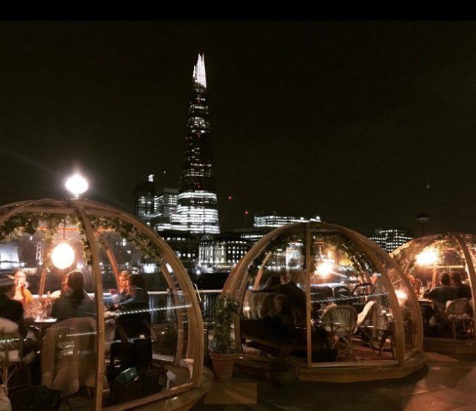 Необычный ресторан в Лондоне, ресторан в Лондоне, хороший ресторан в лондоне, ресторан иглу,ресторанCoppa Club, ресторан с видом на тауэрский мост